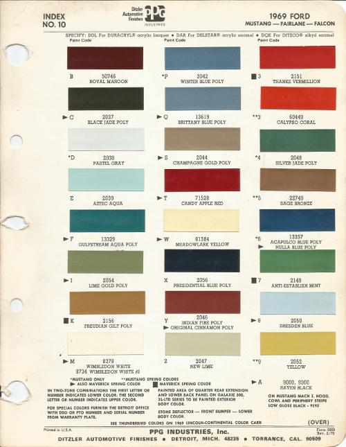 1969 Ford Mustang Oem Car Paint Colors